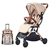 SONARIN Lightweight Stroller,Compact Travel Buggy,One Hand Foldable,Five-Point Harness,Great for Airplane(Khaki)