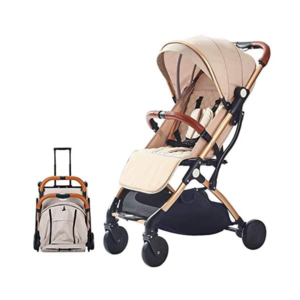 SONARIN Lightweight Stroller,Compact Travel Buggy,One Hand Foldable,Five-Point Harness,Great for Airplane(Khaki) SONARIN Size:Suitable from birth up to 15kg, length:66CM, width:48cm, height:98cm.Folding up:60CM*48CM*26CM. Great for Airplane,can be placed in any car boot. Safe:With sturdy aluminum alloy, compact body and five-point seat harness,each stroller has been pressure tested to provide security for each baby. Quality and Design:The backrest of the stroller supports sitting, half lying, lying,all three angles,lengthened and widened sleeping basket. Four wheel independent shock absorbing and built-in bearings make it smoother and quieter. 1