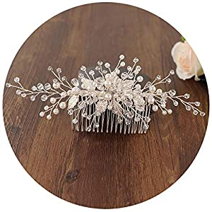 TOPQUEEN Braut Haarkamm,Hochzeit Haarschmuck,Perlen Strass Hochzeit Tiara,Hochzeit Haarband,Haarspangen