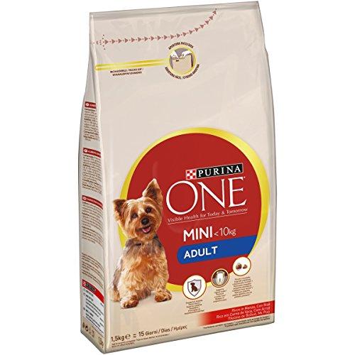 Purina one mini crocchette per il cane, adult, ricco in manzo, con riso, per cani fino a 10 kg, 1.5 kg