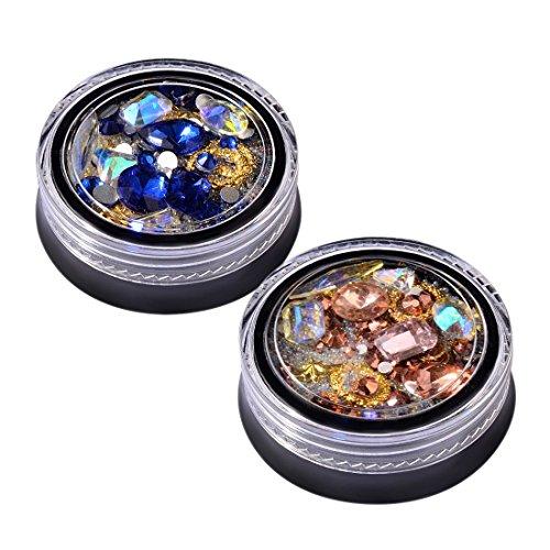 Nrpfell 2 Boites 3D Bijoux a ongles Transparent AB Cristal Verre Diamant Bijoux Perles d'elfe melangees Bricolage Decoration d'art d'ongle (Bleu Royal, Or Rose 1 chacun)