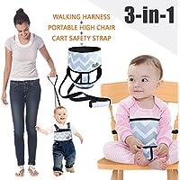 Umiin 3-en-1 Silla Alta Portátil / Viajera + Arnés Infantil de Seguridad para Caminar + Cinto de Seguridad para Carro de Compras, Ligero y Lavable