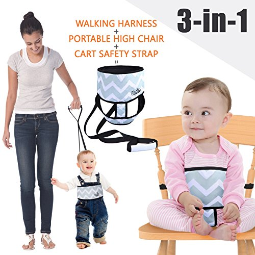 Umiin 3-en-1 Silla Alta Portátil / Viajera + Arnés Infantil de Seguridad para Caminar + Cinto de Seguridad para Carro de Compras, Ligero y Lavable (Cheurón)