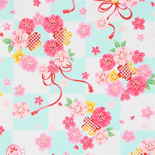 Kokka Tela Japonesa tramada Dobby Cuadros con Flores Mariposa