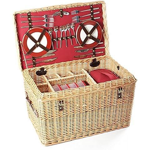 Greenfield Collection Goodwood - Cesta de picnic en mimbre, para 6 personas, color marrón