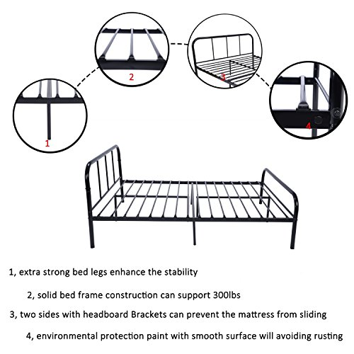 Double Metal Bed Frame Coavas 4ft 6 Double Queen Size Sturdy Bedstead Base with 2 headboard King Size Metal bed Black