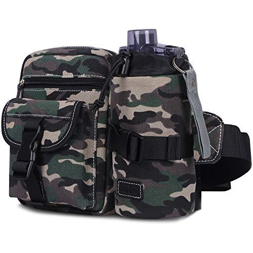 Toplive Fanny Pack Taktische Hüfttasche für Damen Herren mit abnehmbarem Wasserflaschenhalter für Outdoor-Workout, Wandern, Radfahren, Jagd, Camo-Green -