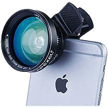 Apexel 4-en-112x teleobjetivo/198grado/0,63x gran angular y lente ojo de pez con mini trípode para iPhone y más Android Smartphone