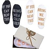 """Nymph Code Lustige Wein Socken Mit Spruch """"If You Can Read This Bring Me Some Wine,Beer"""",2 Paare Mit A Geschenkbox,Ausgefallene Weihnachten Neujahr Geschenkidee für Männer"""