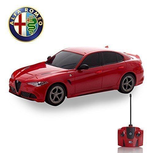 Alfa Romeo quadrafoglio Fernbedienung Auto für Kinder mit funktionierendem Lichter in rot, elektrisch ferngesteuert auf Straße RC Jungen Mädchen Spielsachen, offiziell lizenziert 1:24 Modell, 27MHz Fernbedienung Große Autos Für Jungen