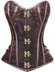 PULABO Steampunk Gothique corset Rétro sein nu jacquard avec Punk bustier corset avec G-String