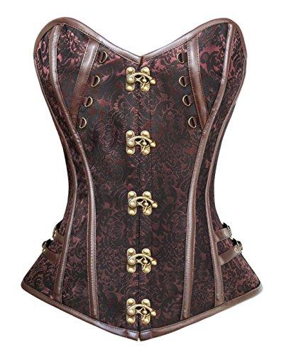 PULABO Women's Beauty Steel Boned Steampunk Burlesque Overbust Corset Body Shaper steampunk buy now online