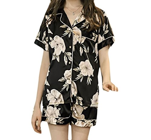 aicessess Women Shorts Short Sleeve 5 Piece Set Nightgown Floral Buckle Pajama Set
