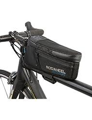 Roswheel 100% impermeable Bolsa Bicicleta Manillar Montaña Bolso de Bicicleta impermeable - posición ajustable 5CM ampliar Velcro - Bolsa de tubo superior de la bicicleta de la bici de montaña con llaveros