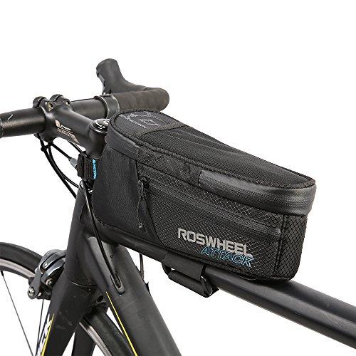 Roswheel 100% impermeabile Borse da Bicicletta MTB BMX Bicicletta ciclismo Telaio Borsa Bici - Posizione regolabile 5CM ampliare Velcro - Borsa superiore del tubo della bicicletta per mountain bike con portachiavi di sicurezza