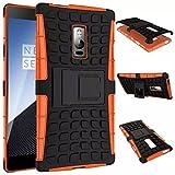 Protégez votre téléphone, Pour OnePlus One 2 double couche de silicium armure et béquille disque antidérapant cas de la peau en plastique pour une plus deux ( Couleur : Orange , Modèles Compatibles : OnePlus 3T )