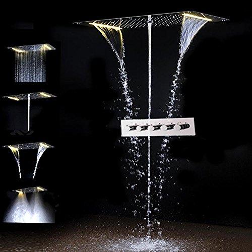 Gowe? Juego de ducha empotrable LED de techo con 5 funciones, accesorios...