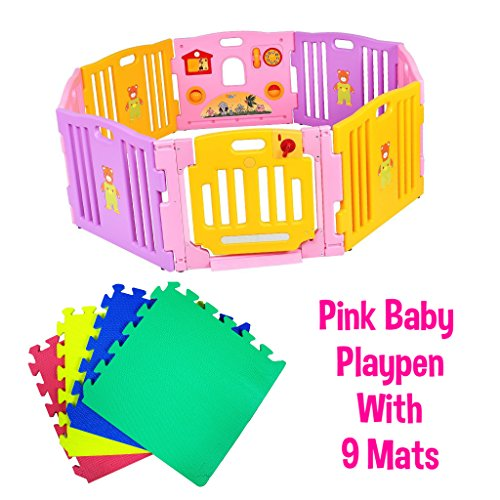 Infantsafe Plastic Baby Playpen Pink - Collapsible 8 Plastic Panels Including Fun Activity Learning Centre w/ 9 Interlocking Floor Mats - Safe, Strong and Durable