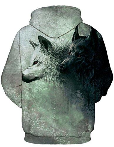 AureQet Herren Unisex Realistische 3D Galaxy Kapuzen Pullover Digitaldruck Sweatshirt Weihnachten Langarm Winter Hoodie Doppel Wolf