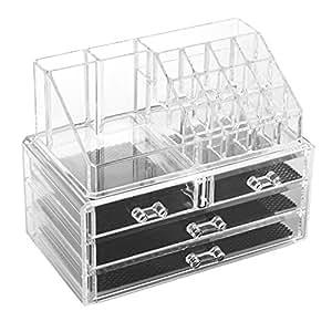 spaire 4 en 1 boite de rangement organisateur maquillage acrylique rangement maquillage avec 3. Black Bedroom Furniture Sets. Home Design Ideas