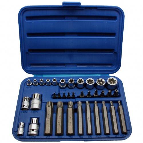 Steckschlüssel Stecknuss Schraubenschlüssel-Einsatz Satz Stecknüsse TORX®E-Profil + T-Profil Einsätze Nuss 35 tlg. Inkl. robuste Kunststoffbox