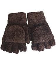 Femmes / filles avec des gants sans doigts Mitten couverture en peluche,brun