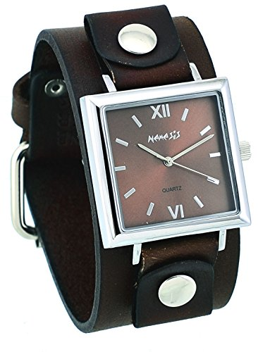 Nemesis #BGB225B Women's Conservative Collection Square Brown Dial Wide Leather Band Watch