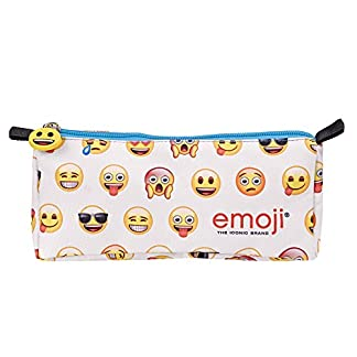 Emoji Perletti 13626 – Estuche escolar con cremallera estampado Emoji, 9 x 22 x 7cm