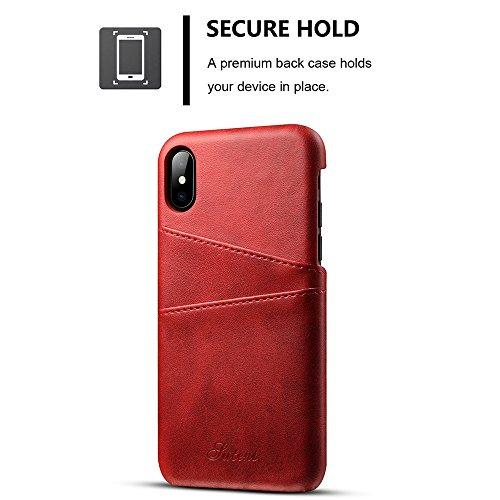 iPhone X Case Hülle mit Kartenfach Kredit Karten Hülle Kunst Leder Handy Schutzhülle von Harrms,Schwarz Rot