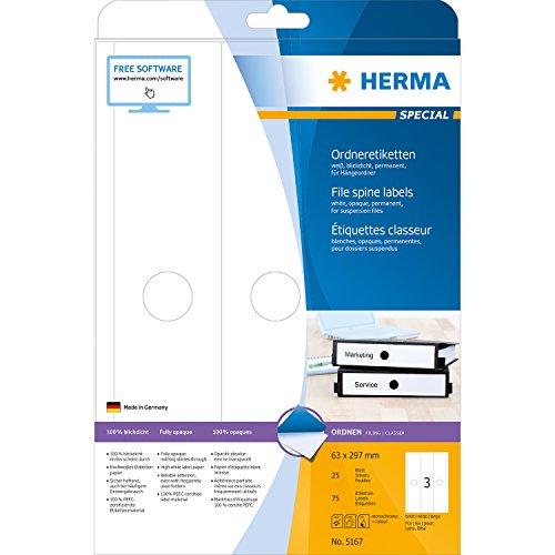 Preisvergleich Produktbild Herma 5167 Hängeordner Etiketten blickdicht, breit, 75 Ordnerrücken weiß (63 x 297 mm) 25 Blatt A4 Papier matt, bedruckbar, selbstklebend