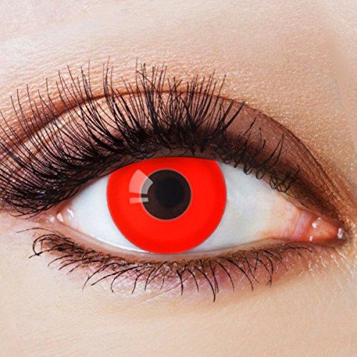 Farbige Kontaktlinsen Ohne Stärke mit Motiv Fun Rote Linsen Jahreslinsen für Halloween Party...