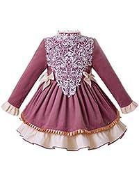 Ju petitpop Traje de Vestido de Primavera de Blush de Las niñas con patrón de Encaje