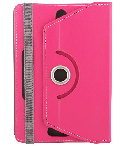 "Hello Zone Exclusive 360° Rotating 8"" Inch Flip Case Cover Book Cover for Micromax Canvas Tab P666 -Pink"