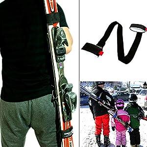 XJunion Ski- und Stangen-Tragegurte – Schulter-Skitenträger mit gepolsterter Halterung – Downhill-Skifahren und Zubehör