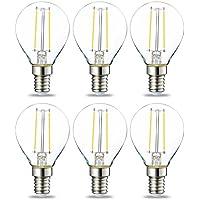 AmazonBasics E14 LED Lampe P45, Tropfenform, 2.1W (ersetzt 25W), klar, 6er-Pack