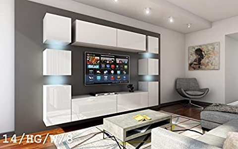 FUTURE 14 Wohnwand Anbauwand Wand Schrank Möbel TV-Schrank Wohnzimmer Wohnzimmerschrank Hochglanz Weiß Schwarz LED RGB Beleuchtung (14/HG/W/8, Möbel)