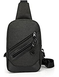 Goatter High Quality Unisex Cross Body Bag Canvas Material Chest Pack Sling Bag With USB Charging Port,