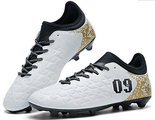 HYLM Football Boots Sneakers Chaussures professionnelles de football en plein air Chaussure d'entraînement pour adolescents whitespike