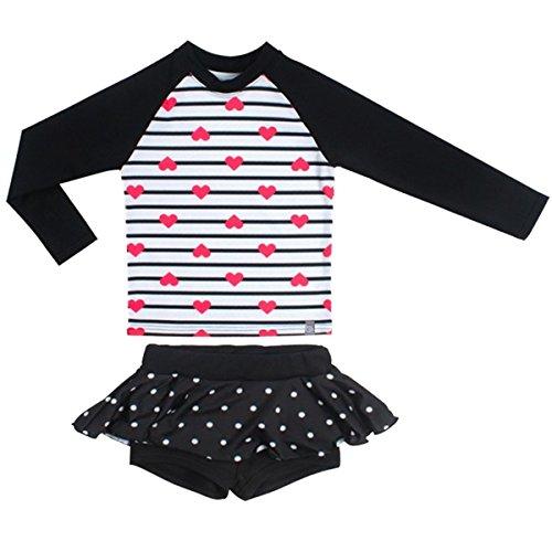 FAIRYRAIN Baby Kids Girls Two Pieces Long Sleeve Sun Protection Boy-Leg Star UV Rash Guard Swimsuit Swimwear