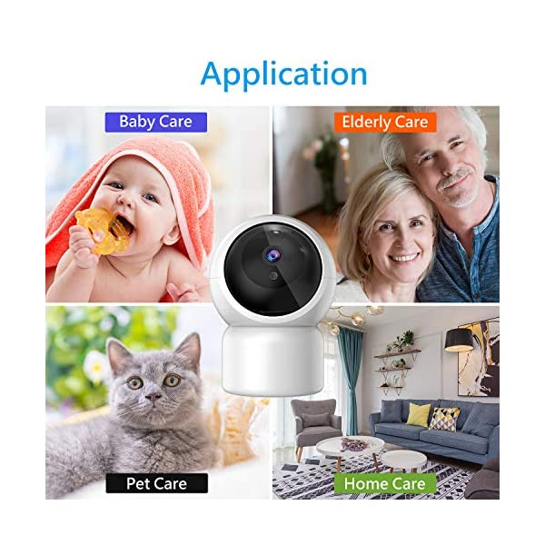 """Baby Camera 1080P IP Camera, JUMPER WLAN Security Camera Pan/Tilt ONVIF IP Cam P2P Network Camera Baby Monitor 2 Way Audio IR-Cut Night Vision Motion Detection Jumper 【 JUMPER 1080P WIFI Baby Cam 】 -- Built-in WiFi module, supports 802.11b / g (supports only 2.4G, no 5G WIFI). Standard H.264 video compression. Network settings through the APP """"YCC365 Plus"""", supports iOS and Android Smartphone/Tablet PC. 【 2,0 Megapixel CMOS Sensor & Intelligent Tracking】 -- Pan:355°/ Tilt:120° , ; Maximum image resolution up to 1080P. This IP camera can recognize people and follow their movement to keep monitor . 【 2 Way Audio & Alarm detection】 --The baby monitor supports 2 way audio (built-in mic & speaker) and micro SD card up to 128G (card is not included). The WiFi IP Camera supports motion detection alarm, push notification alarm, whistle alarm. 8"""