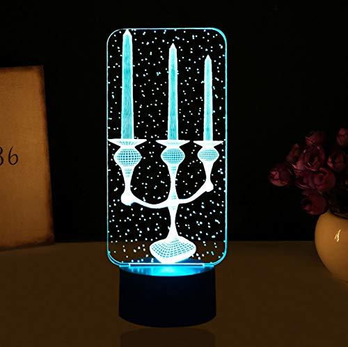 Luce di notte di forma del supporto di candela del LED 3D 7 colori che cambiano tasto di scrittorio di tocco della lampada di scrittorio della tabella della novità Apparecchio della luce