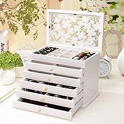 MMM Joyero de madera maciza caja de cosméticos joyería Europea caja de almacenamiento Caja de joyas princesa de almacenamiento ( Color : Blanco )