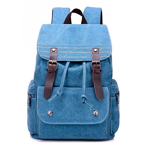 BYD - Man Unisex Large School Bag Sacs portés dos Travel Bag toile Bag Sacs portés main Sacs bandoulière with Mutil Function Pocket Bleu