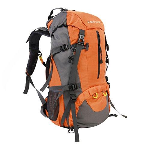 50L Trekkingrucksack Bergsteigen Rucksack Reiserucksack outdoor Hochleistungs-Klettern Rucksack mit Regen Cover outdoor Bergsteigen by KeLe Dreamer Orange