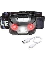 LE Lampe Frontale Rechargeable, Orientable, Câble USB Inclus, 3 Modes et 2 Couleurs 6000K