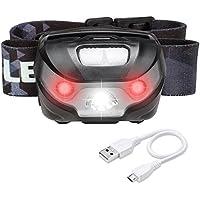 LE Lampada LED da testa, Ricaricabile Regolabile Cavo USB 5