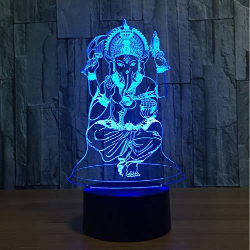suell 7 Farben Illusion Indien Lord Elephant God Lampe Mit Remot Touch Tischlampe Geburtstagsgeschenke ()