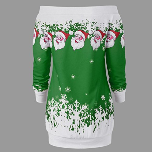 Moonuy Femmes Noël Santa flocon d'impression élégante Chemisier O-Neck manches longues casual Pull long Shirt Blouse de Noël Winter Tops Vert