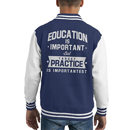 Coto7 Education Is Important But Target Practice Is Importantest Kid's Varsity Jacket - Guns Airsoft Scifi