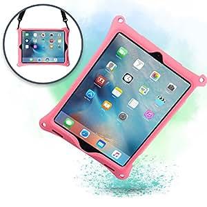 Cover iPad Pro 12.9 1st & 2nd Gen, Custodia Rigida COOPER BOUNCE STRAP Silicone Maxi Protezione Super Resistente Ottima per Bambini Viaggio Auto Supporto Tracolla con Cavalletto, Rosa